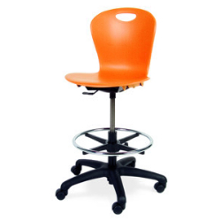 "Virco ZLAB - Zuma Series Mobile Lab Stool with Chrome Footring and Black Base/Wheels - Seat Adjusts from 19 1/2"" to 27""  (Virco ZLAB)"