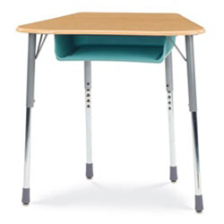 Virco ZOCTBOXM - ZUMA® Student Desk, Trapezoid Top for 8-Desk Groupings, Book Box  (Virco ZOCTBOXM)