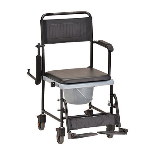 Rehab Shower-Commode Chair - Nova 8805 Drop-Arm Shower Commode Wheelchair - Rolling Shower Chair
