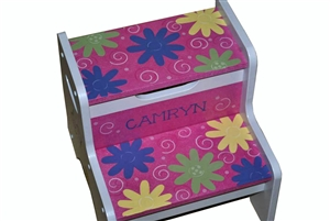 Flower Dot Swirl storage stool