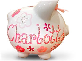 Fuschia Pink Crystal piggy bank