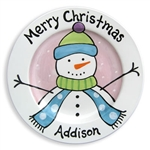 Snowman plate personalized girl