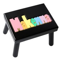Personalized Puzzle black step stool small SOLID wood