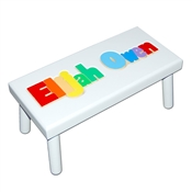 Personalized Puzzle white step stool large SOLID wood