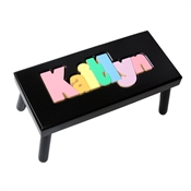 Personalized Puzzle black step stool large SOLID wood