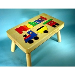 Train Step Stool For Kids Personalized Name Puzzle Step
