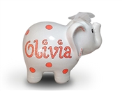 Orange Dots elephant piggy bank