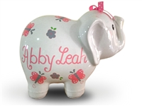 Pink butterfly elephant piggy bank