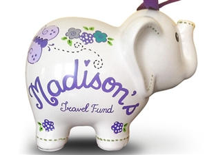 Purple butterly elephant piggy bank