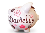 Pink Brown Flowers piggy bank
