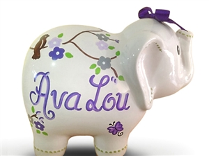 Purple cherry blosoms elephant piggy bank