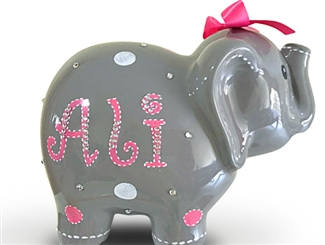 Pink Dots elephant piggy bank