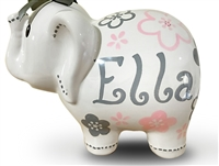 Pink grey flowers elephant piggy bank