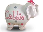 Pink Grey Dots elephant piggy bank