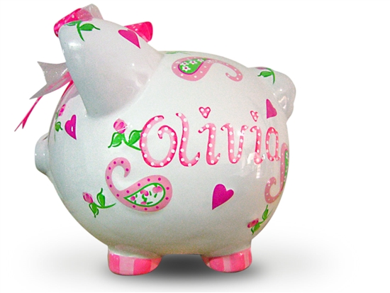 Rose Piggy Bank Paisley Piggy Bank Tiny Keepsakes