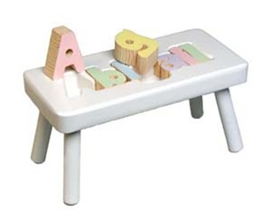 White Step Stool For Kids Personalized Kids Name Puzzle