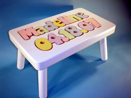 Birthday Amp Name Puzzle Stool Wooden White Kids Step Stool
