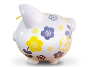 Yellow Grey Flowers piggy bank