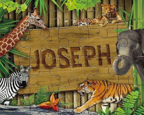 Personalized Kids Puzzle Zoo Animals Puzzle Tiny Keepsakes
