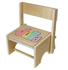 Personalized Puzzle Flip Stool Kids Wooden Flip Stool