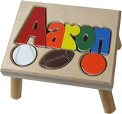 personalized puzzle step stool nat maple sports