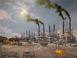 """New Orleans, 1867"" Steamboats by Keith Brown"