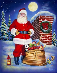 Moonlit St Nick (Santa on the roof) By Robert Andrea