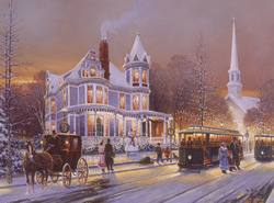 Christmas in the City.   A vintage Christmas echoes the hustle and bustle of the season. A gallery wrapped canvas by Keith Brown
