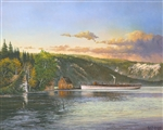 The Tahoe Steamer-Circa 1900.  The romance of travel by water is celebrated in this vintage image.  A gallery wrapped canvas by Keith Brown
