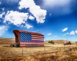 The Blue Line Barn (Tribute to Law Enforcement) giclee canvas by Don Schimmel