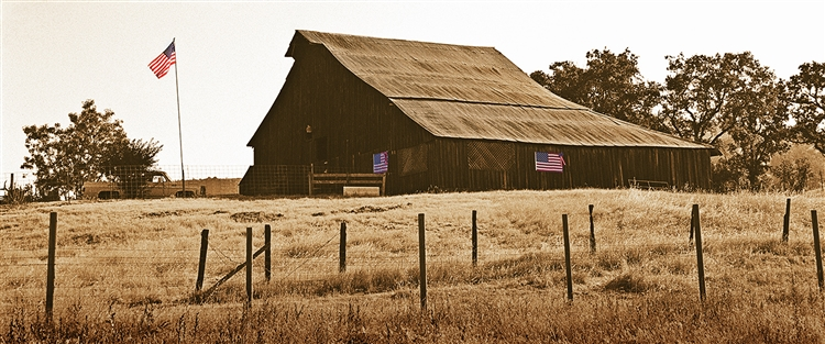 Flag Barn giclee canvas by Don Schimmel