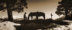 Say Goodnight - Cowboy at Grave (Sepia) giclee canvas by Don Schimmel