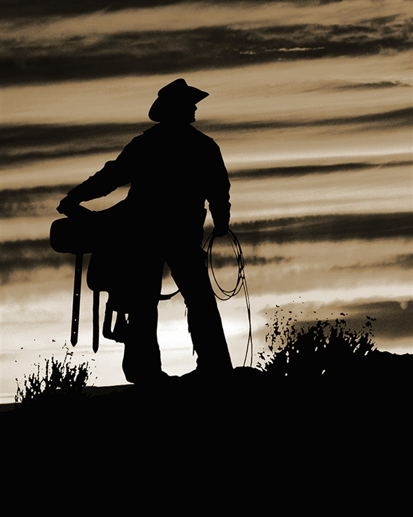 Sunrise Cowboy (Sepia) giclee canvas by Don Schimmel