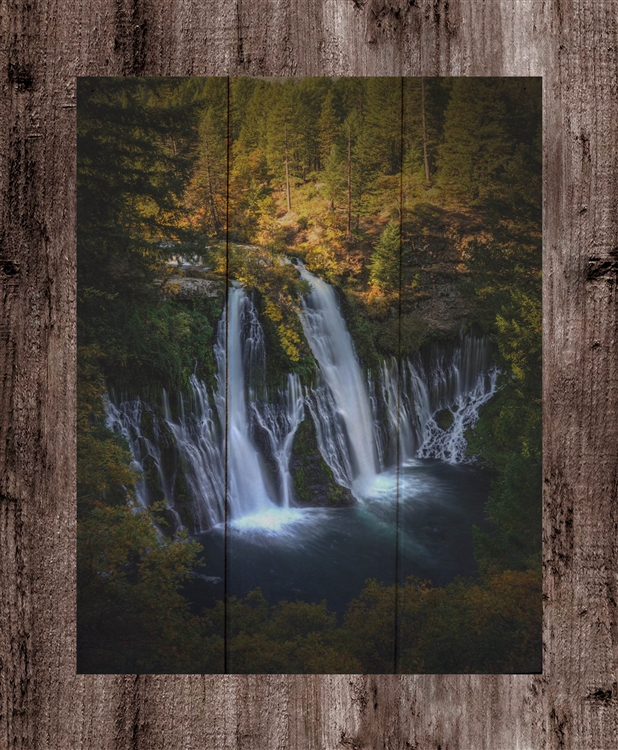 "Burney Falls ""vertical view"" Box Wood Board by Kelly Wade"