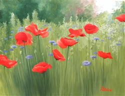 Backyard Poppies 9x12