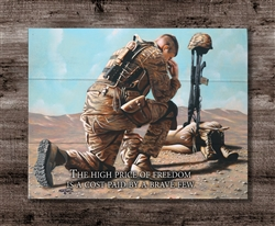 """High Price for Freedom"" with soldiers cross quote Boxed Board"