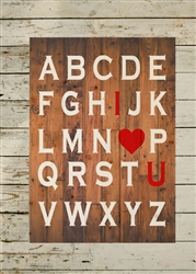 ABC I Love You Wood Sign