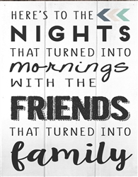 "Nights with Friends, Family box wood board wood sign. Size: 8"" t x 10"" w x 1"" d"