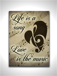 "Life is a Song box wood board wood sign. Size: 8"" t x 10"" w x 1"" d"