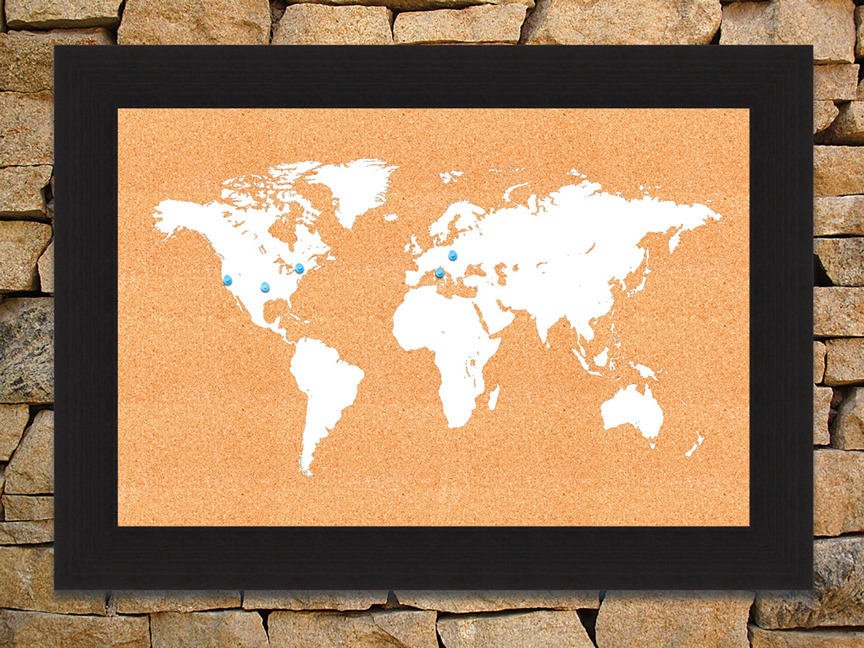 Framed world map corkboard white 8x12 image size gumiabroncs Gallery