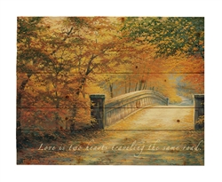WOOD PALLET AUTUMN BRIDGE- featuring love saying