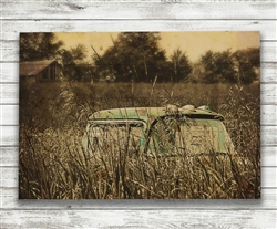Truck in Farm Field in Sepia Wood Pallet by Hal Halli