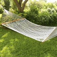 DOUBLE ROPE HAMMOCK W/WOODEN SPREADER BARS
