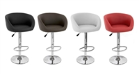 Isu Faux Leather Modern Adjustable Bar Stool (Set of 2)