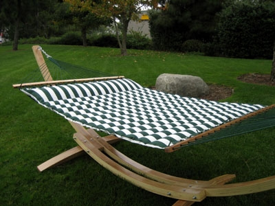 Luxurious Cushioned Pillow Top Hammock - Double Sided - Green/White or Navy/White Striped