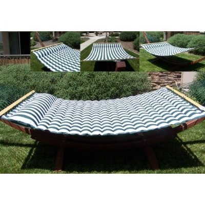 luxurious cushioned pillow top hammock   double sided   green white or navy white striped luxurious cushioned pillow top hammock   double sided   green      rh   southmissiononline