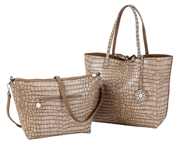 Reversible Tote with inner pouch in Taupe