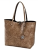 Reversible Tote with inner pouch in Bronze and Olive