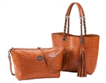Reversible Tote with inner pouch in Saddle