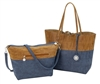 Reversible Tote with inner pouch in Mocha, Navy & Burlap